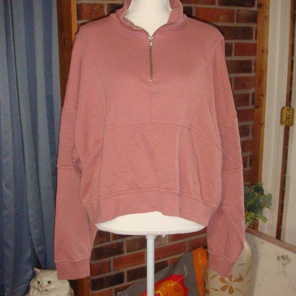 Wild Fable Quilted Sleeve Quarter Zip Sweatshirt